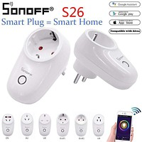 Sonoff S26 WiFi Smart Socket Outlet Plug Power Sockets Smart Home Switch Work