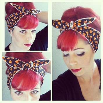 Candy Corn on black one sided WIDE Headwrap Bandana Hair Bow Tie 1950s Vintage Style - Rockabilly - Pin Up - For Women, Teens