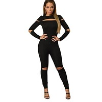 Black Open Slit Skinny Jumpsuit Full Sleeve Long Fall And Winter Fitness Sportwear Casual Jumpsuits Rompers Monos Mujer Overalls