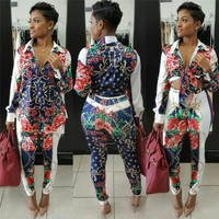 Print Jumpsuits Women Two Piece Sets Boho Fashion Rompers Womens Jumpsuit Long Sleeve Fall Spring Overalls