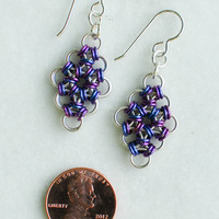 Sterling Silver Micro-Maille Earrings with Blueberry and Plum Niobium Accents - Ready to Ship