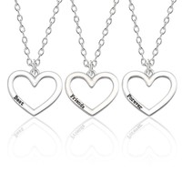 3Pcs Best Friends Forever Necklace Women 3 Silver Hollow Heart Necklaces Pendant BFF Friendship Jewelry For Christmas Gift Colar