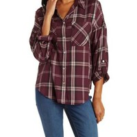 Wine Combo Button-Up Plaid Top with Pockets by Charlotte Russe
