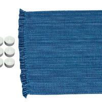 """Park Design 111-13NB Newport Blue Casual Classics Table Runner 13""""x54"""" with 6-Pack of Tea Candles"""