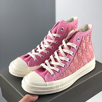 DIOR X CONVERSE X LV Louis Vuitton new product printed letters couple high-top sneakers Shoes