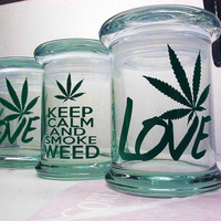 Weed Stash Jar Glass Bong Stoner Gift Stash Jar - Choose Your Color & Style!