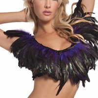 Purple Long Feathers Mesh Top