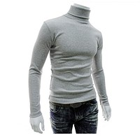 Autumn Winter Men's Sweater Men's Turtleneck Solid Color Casual Sweater Men's Slim Fit Knitted Pullovers
