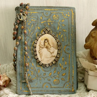 Antique distressed PRAYER Book rosary decor Vintage aged rosary Rhinestones Virgin Mary shabby chic French decor