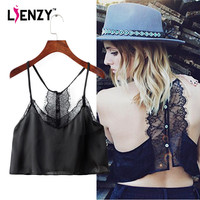LIENZY 2016 Summer Sexy Lace Crop Top Backless Zipper Nastygal Sexy Halter Chiffon Loose Straps Women Short Camis For Summer