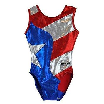 O3GL024 Obersee Girls Gymnastics Leotard One-Piece Athletic Activewear Girl's Dance Outfit Girls' & Women's Sizes - Flag