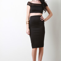 Choker Mesh Two Piece Dress