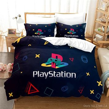 PlayStation Geometry 3D Printed Bedding Set 2/3pcs Soft Quilt Cover / Duvet Cover Set Twin Full Queen