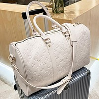 Louis Vuitton LV FENDI Dior solid color embossed letters handbag luggage bag travel bag