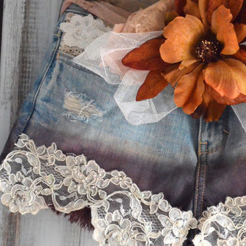 Autumn Cut off shorts, Ombre Country chic, embellished, Boho shabby jean shorts, Vintage lace,  Romantic gypsy cowgirl, true rebel clothing