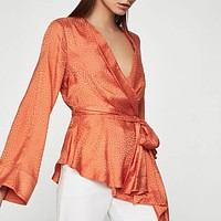 Dotted Satin Wrap Top