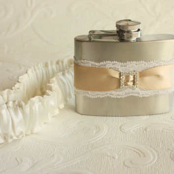 Satin & Lace FLASK GARTER with Rhinestone Buckle by MoonshineBelle