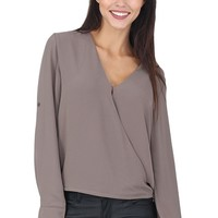 Taupe Long Sleeve Drape Top at Blush Boutique Miami - ShopBlush.com : Blush Boutique Miami – ShopBlush.com