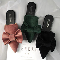 big velvet bow sandals women pointed toe slippers 2017 brand designer bowtie mules ladies summer shoes sandalias mujer y131