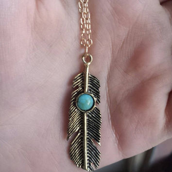 Turquoise Feather Necklace - Boho Necklace - Gypsy Jewelry - Bohemian Necklace - Gem Necklace - Gift With Purchase