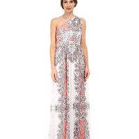 Nine West One Shoulder Gown w/ Knot Detail