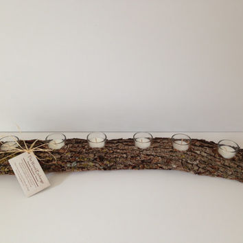 Long Tablerunner Log Candle Holder