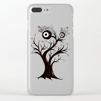 Excited Tree Monster Ink Drawing Clear iPhone Case by borianagiormova