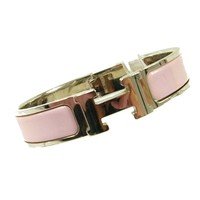 Auth HERMES Vintage H Logos Clic Clac Bangle Silver Pink Accessories AK16989