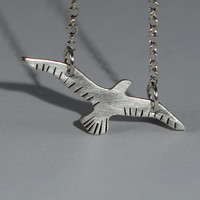 Dainty bird sterling silver necklace handmade and crafted for free spirit