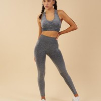 Gymshark Ombre Seamless Leggings - Black/Light Grey