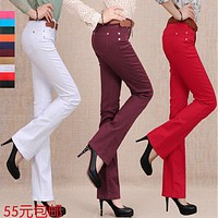 New 2017 Spring candy color flare trousers jeans female slim long boot cut trousers Women lager size casual pants10 color TA0289