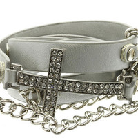 Leather Clip Bracelet with Metal Chain and Crystal Stone Paved Cross