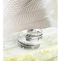 Antiqued Feather Wrap Ring - Adjustable