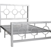 Home Source Industries 13161 Full Metal Bed Frame with Decorative Headboard and Footboard, Silver