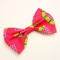 Watermelon Bow • Hot Pink Bow • Fruit Hair Bow • Pink Cotton Bow • Women's Fashion • Gifts For Girls • Novelty Hair Bow • Summer Fun Bow