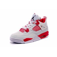 Air Jordan 4 Retro Aj4 White/red Sneaker Shoes Us Size 8 13