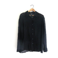 20% OFF SALE...90s Oversized Shirt. Black Sheer button down top.