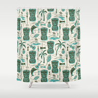 Tropical Tiki - Cream & Aqua Shower Curtain by heatherduttonhangtightstudio