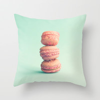 Three pink macaroons  Throw Pillow by Andrea Caroline