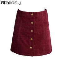 Vintage Corduroy High Waist Skirt A Line Button Slim Fit Mini Skirt Preppy Single Breasted Autumn Winter Women skirts BN790