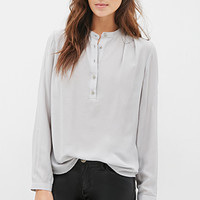 LOVE 21 Round Collar Blouse Light Grey