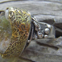 Sterling silver ring with a malachite druzy stone by Billyrebs