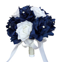 """9"""" Bouquet - Navy Blue and White Rose Wedding Bouquet"""