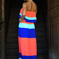 Fresh Off The Color Block Maxi Dress