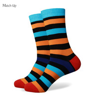 Colorful stripe red black yellow new men colorful combed cotton socks