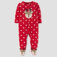 Baby Girls' Reindeer Fleece Sleep N' Play - Just One You™ Made by Carter's® Red Dot