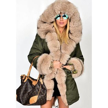 Army Green Patchwork Pockets Hooded Fur Collar Long Sleeve Coat