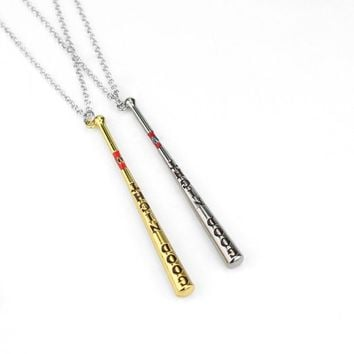 Movie Jewelry Suicide Squad Collar Baseball Bat Necklace & Pendant Harley Quinn Necklace Souvenir Gothic Long Necklace Jewelry