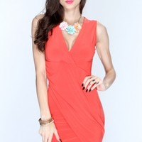 Tangerine Crossover Front Sexy Party Dress