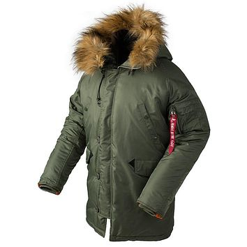 Winter N3B puffer jacket men long canada coat military fur hood warm trench camouflage tactical bomber army korean parka